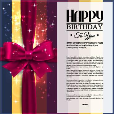 velvet bow happy birthday cards vector