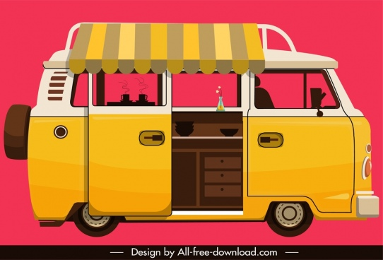 vendor bus icon yellow classical sketch