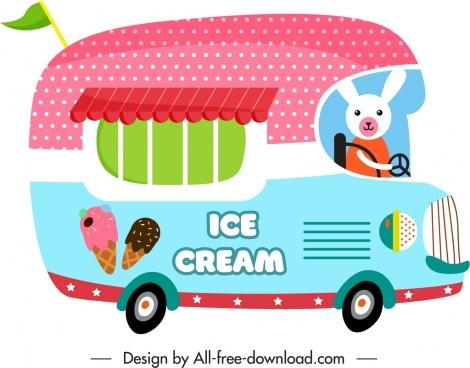 vendor car icon cute flat design cartoon sketch