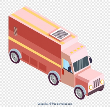 vendor truck icon pink 3d sketch