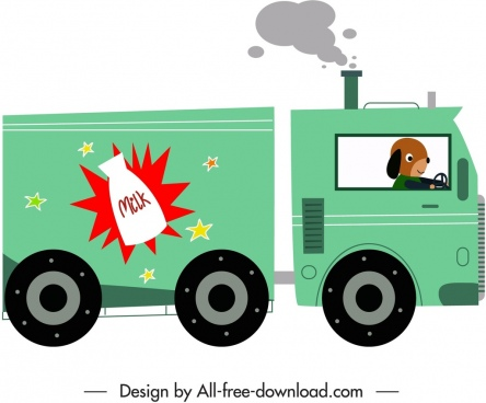 vendor truck icon stylized cartoon character sketch