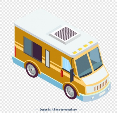 vendor truck icon yellow 3d modern design