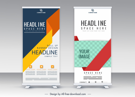 vertical standee banner templates modern colorful abstract decor