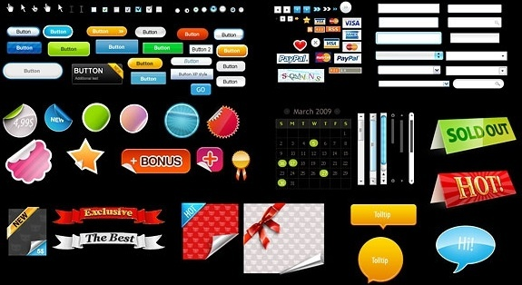 very useful web design decorative elements psd layered