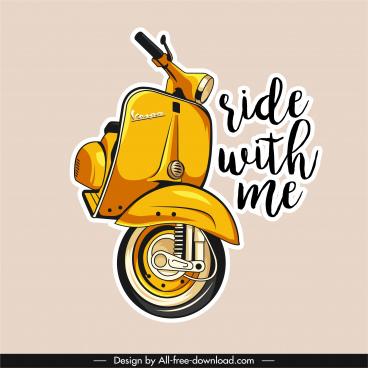 vespa motorbike advertising banner classical sketch