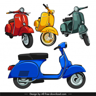 vespa motorbike icons colored classical 3d sketch