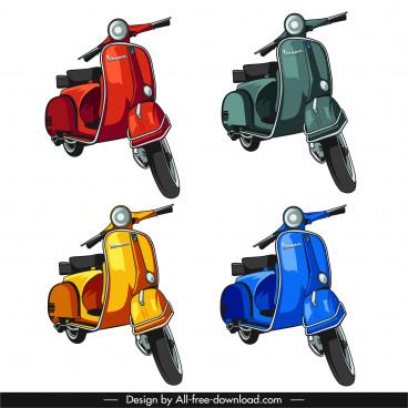vespa motorbike icons elegant classica design