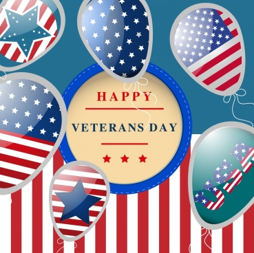 veterans day banner balloon usa flags icons decoration