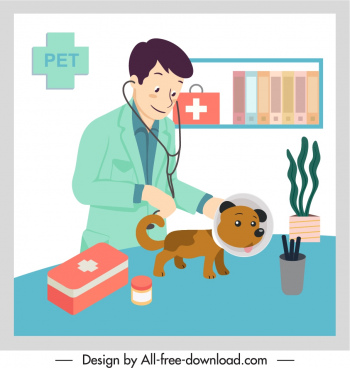 veterinary occupation painting colored cartoon sketch
