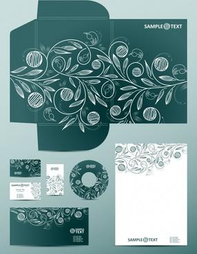 corporate identity template handdrawn petal sketch