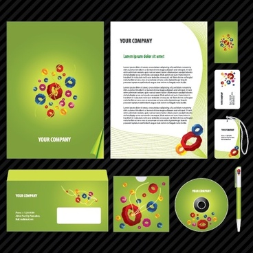corporate identity templates modern 3d colorful circles decor