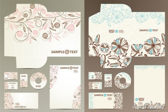 corporate identity templates classical natural floral decor