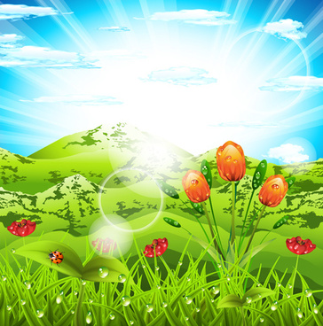vibrant spring elements vector background art