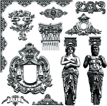 victorian style decorative elements vector graphics