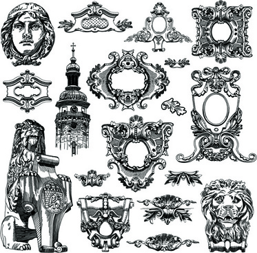 victorian style decorative elements vector graphics