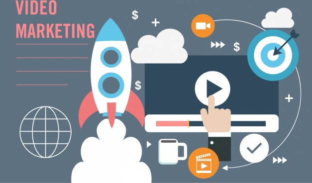 video marketing banner spaceship screen business icons decor