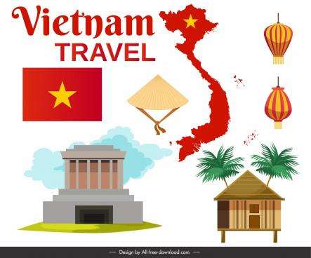 vietnam tourism banner national emblem decor bright flat