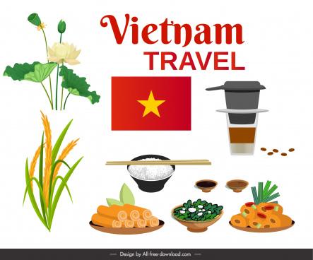 vietnam travel poster cuisines lotus rice elements sketch