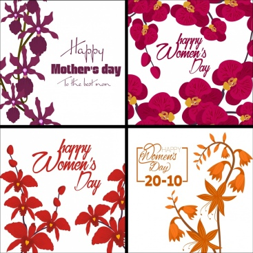vietnamese women day banners orchids decoration isolation