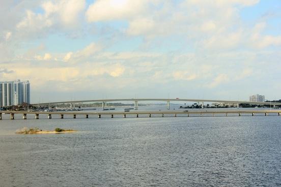 view across the bay at daytona beach florida