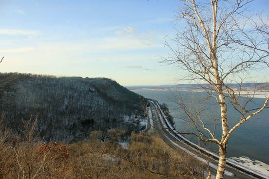 view from top of the bluff of railroad at john a latsch state park minnesota