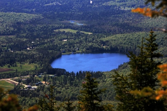 view of lake from cascade in adirondack mountains new york