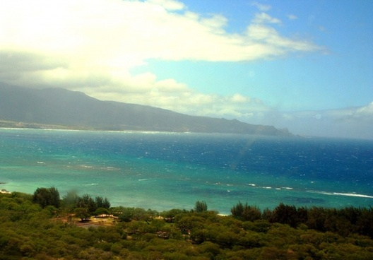 view of molokai from helicopter