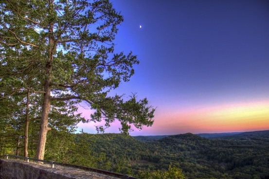 view of the mountain at dusk at wildcat mountain state park wisconsin