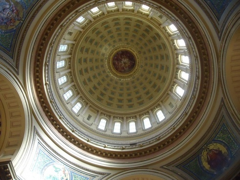 view straight up from floor of the capital in madison wisconsin