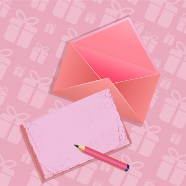 vignette gift background pink decoration envelope icon