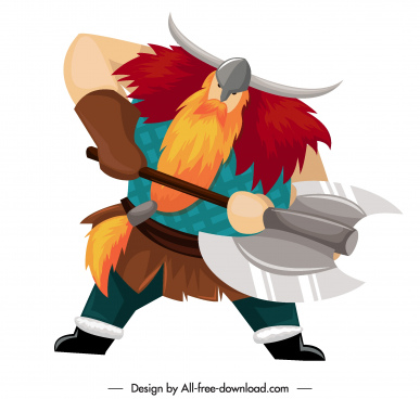 viking knight icon axe weapon sketch cartoon character