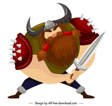 viking knight icon sword weapon sketch cartoon character