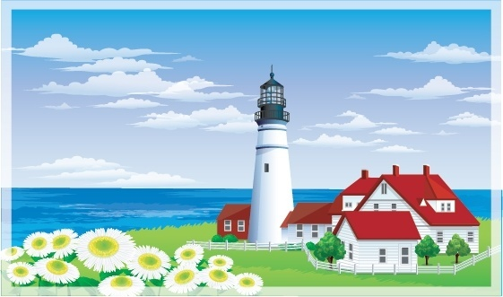sea scene painting lighthouse home flowers icons decor