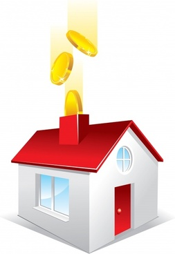 saving concept background house coin icons colored 3d