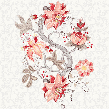 vine flower with floral background vector