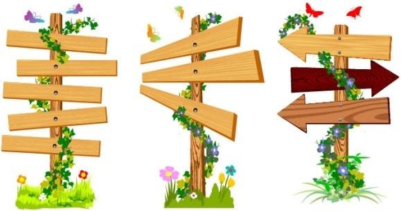 vine wood signs vector