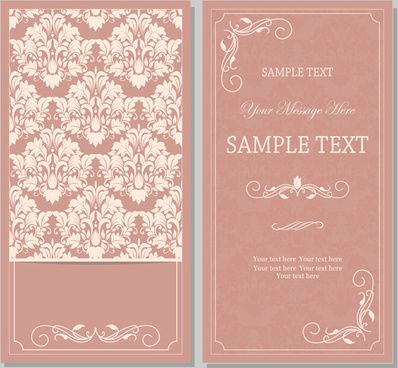 vintag pink invitation cards with floral vector