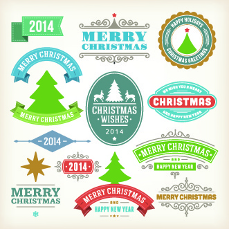 vintage14 christmas decoration and labels vector