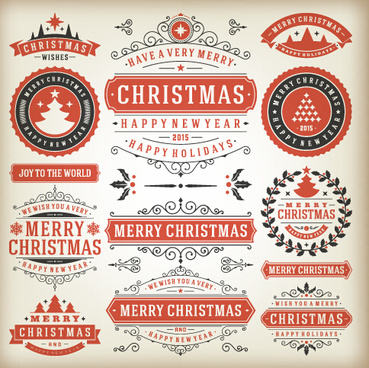 vintage15 christmas labels creative vector