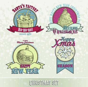 vintage15 christmas labels vector set