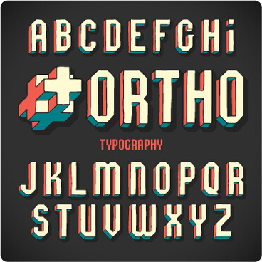 Vintage 3d Alphabet Vector