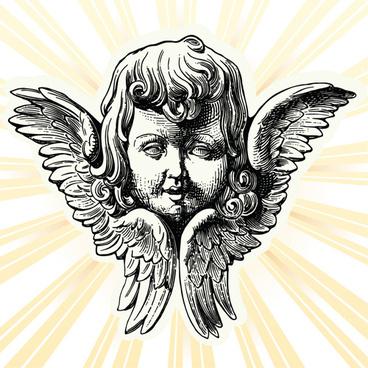 vintage angels statue vector