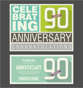 vintage anniversary cards flat styles vector
