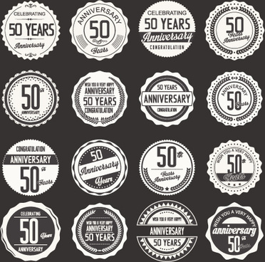 vintage anniversary labels set vector