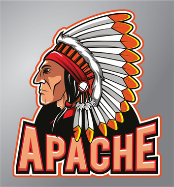 vintage apache logo vector