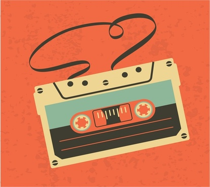 vintage audio cassete tape isolated on orange background