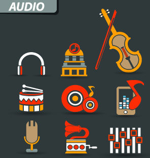 vintage audio icons vector