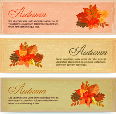 vintage autumn leaves vector banners