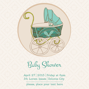 vintage baby shower vector card