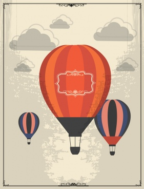 vintage background design clouds balloons decoration